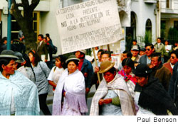 Protesters line the streets of El Alto, Bolivia