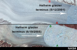 Rapid retreat of Helheim glacier in Greenland shown in photos comparing 2001 versus 2005