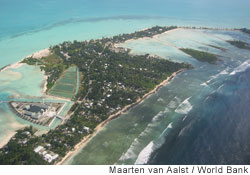 Aerial view of the low-lying island nation of Kiribati